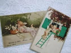 2 db angyalkás antik képeslap, litho/litográfia, angyal, 1901-1928