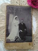 Antik, magyar kabinetfotó/keményhátú  fotó, esküvői fotó, Arad Ruhm Ödön műterme 1800-as évek vége