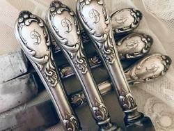 """Antik, ezüstözött """"D"""" monogrammos vajkés/kés, Zwilling luxus evőeszköz gyartó antik terméke Solingen"""