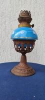 Antik petróleum lámpa kék üveggel, gyönyörű különleges darab