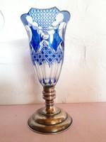 Ezüst talpas kék kristály váza 25 cm magas