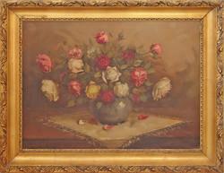 Szignált antik virágcsendélet - kvalitásos darab - hibátlan szép állapotban, gyöngyörű kerettel