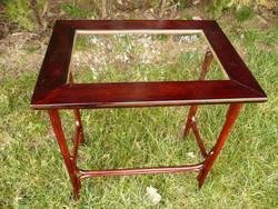 Antik mahagóni színű, réz keretes, üveg betétes szép,légies Thonet virágállvány v. szalon asztal