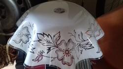 Lámpabúra virágos, fehér, műanyag