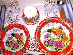 3 részes Japán   porcelán reggeliző szett  , 24 karátos arany díszítéssel-