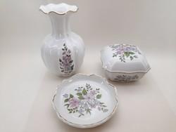 Zsolnay váza, bonbonier és tálka