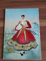 Hímzett képeslap - Sardegana- Costume Regionale - 1969