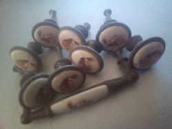 9 db réz porcelán betétes bútor fogantyú