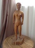 Régi naív stílusú fából faragott női akt szobor 1974