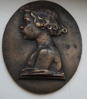 Hafner Antal Arnold bronz kislány portré fali dísz