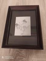 Fekete-fehér ceruzarajz, fa keretben, üveg előlappal. A keret mérete: 20cmx15cm.