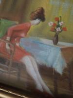 Jelzett festmény, enteriőr ülő nőalakkal, 34x28,5