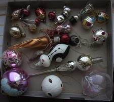 Antik üveg karácsonyfa dísz gyűjtemény - ritka darabokkal, pingvin, lant, gomba, stb...