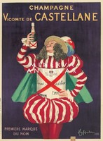 Vintage pezsgő szeszes ital alkohol hirdetés reklám plakát reprint nyomat nemes lovag csíkos ruha