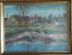 Udvary Pál - Szentendre- olaj, vászon 60x80