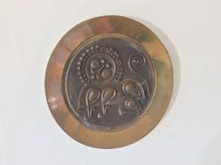 Ajándėkba  oroszlán jegyűeknek Máté János retro, modernista bronz dísztálja a 70-es évekből