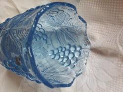 Vastagfalú, súlyos dombormintás üveg váza, abszolut hibátlan