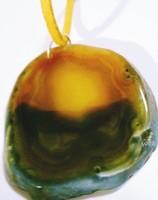 Trópusi napkelte gyönyörű nagy achát természetes agát drágakő napsárga bőr nyaklánc  arany zöld