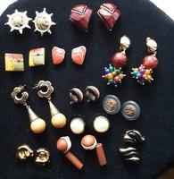 Fülbevaló, vintage, több szín és anyag, különböző forma, színkombinációval készült retro fülklipsz