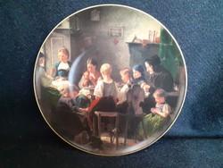 Csodálatos porcelán dísztányér, Vautier-Die Nähscule (Varróiskola) című festménye nyomán