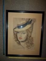 Pasztell portré festmény, falrakész, elegáns keretben, szignós, méret jelezve!