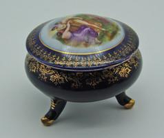 Antik kobaltkék német porcelán PM Martinroda mitológiai jelenetes bonbonier - Angelica Kaufmann