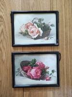 2 db keretezett, üvegezett litográfia? - litografált képek - rózsakosarak, kőnyomat, nyomat