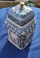Gyönyörű hatalmas,kézi festett,fedeles tea edény, fűszeres,Dohàny tartó, Luxus asztali ..kàvés Doboz