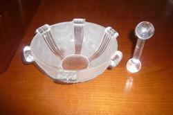 Díszes üveg tálka üveg mozsártörő alaku kiegészítővel