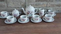 Art deco Zsolnay: cseresznyefa virágos teás/kávés készlet inda mintás suteményes tányérokkal