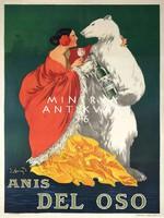Vintage ital likőr reklám plakát reprint nyomat jegesmedve spanyol nő vörös köpeny sárga szoknya