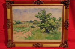 Gebauer Ernő (1882-1962): Zöldellő vidék - Igényesen megfestett régi akvarell munka szép keretben