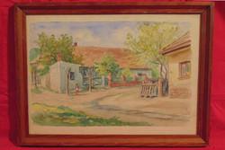 Gebauer Ernő (1882-1962) Kint az utcán, 1946 - Igényesen megfestett utcakép, akvarell kartonon