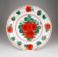1D815 Antik virágos Hollóházi porcelán falitányér 23.5 cm