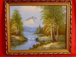 Havas hegycsúcs a nyárban - olaj-vászon festmény szép, antik keretben