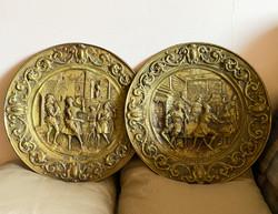 Antik francia aranyozott réz falidísz pár.