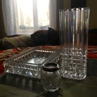 ARt Deco ólomkristály váza ,kínáló és fogpiszkáló tartó ezüst peremmel