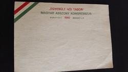 Horthy emlékbélyeggel Magyar Asszony Kongresszus