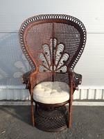 RENDKÍVÜLI!!!Vintage fonott Páva szék - Peacock chair - nagy méretű káprázatos orientalista ülőbútor