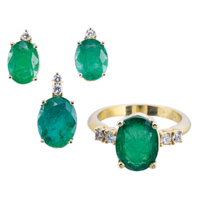 Smaragd ékszergarnitúra (fülbevaló, medál, gyűrű)