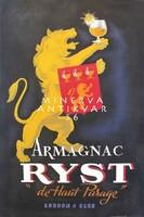 Vintage art deco konyak reklám plakát reprint nyomat sárga oroszlán címer alkohol Armagnac cognac