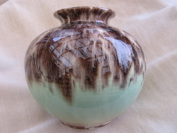 Retro BAY keramik zöld-barna golyó váza