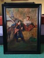 70×90cm es meretű olaj vaszon festmény eladó