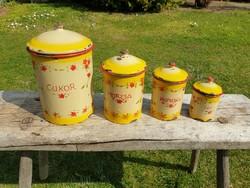 Régi vintage zománcos fűszertartó zománcozott Kőbánya konyhai fedeles cukor fűszer tároló edény