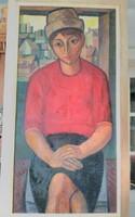 Józsa János festőművész Fiatal nő kis kalapban