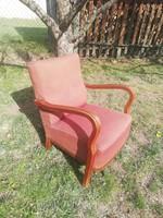 Szép keményfa vázas kényelmes rugós art deco fotel akár szállítással