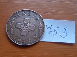 MÁLTA 1 CENT 1972 90-70% Réz, 10-30% Cink,George Cross #753