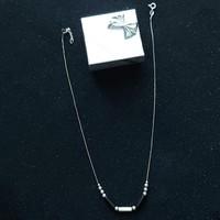 Antik ezüst nyaklánc  925 ös, 40+3 cm hosszú, ezüst gyöngyökkel és kövekkel feltűnő a finomsága