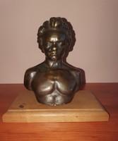 Jelzett Beethoven bronz büszt, mellszobor, Sződy Szilárd