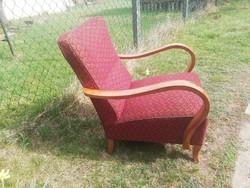 Kényelmes rugós szép hajlított keményfa karfás art deco fotel  -Akár házhozszállítással